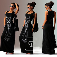 2019 New Women Summer Long Maxi Dress Casual Cat Print Boho Beach Dresses Black Sexy Evening Party Bodycon Dress Vestidos Ladies