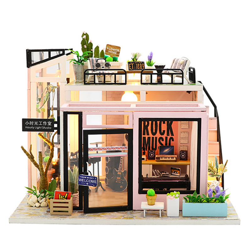 DIY Dollhouse Music Studio Miniature Dollhouses Assemble Kits Handmade Doll House with Led Lights Furnitures Wooden