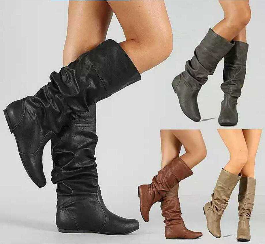 girls boots slip on flats knee high pleated ladies chaussure women winter shoes woman zapatos mujer sapato feminino XZ180005 new 29 52 ladies women flats boat zapatos mujer espadrilles sapato feminino summer style sapatilha chaussure homme shoes 8012