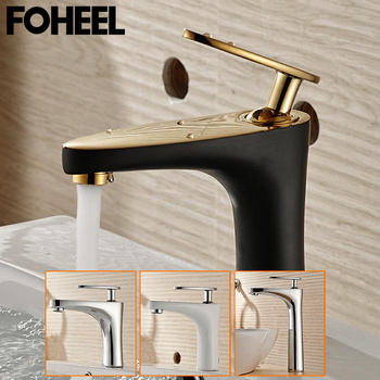 FOHEEL bathroom basin faucet cold and hot water taps black white chrome bathroom mixer taps for washbasin