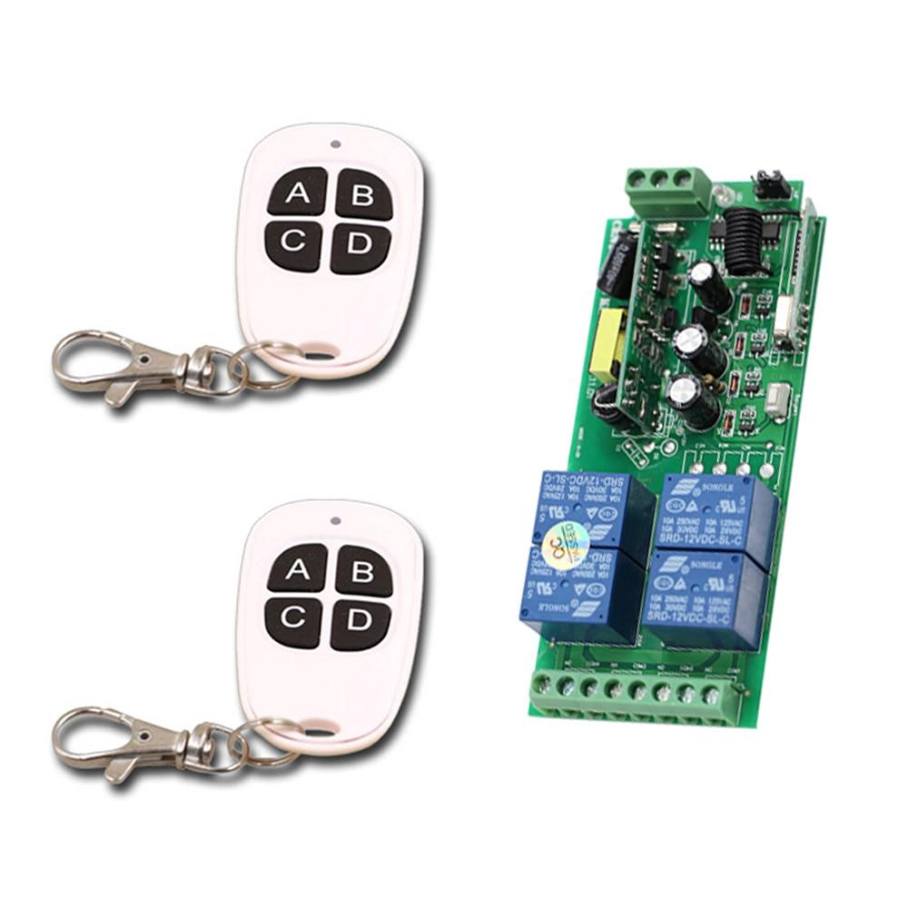 Smart Home AC85V 110V 220V 250V 4CH Wireless Remote Control Switch Relay Output Radio Receiver Module and 2* Transmitter 4Keys centurion smart 1 smart 2 smart 4 replacement remote control