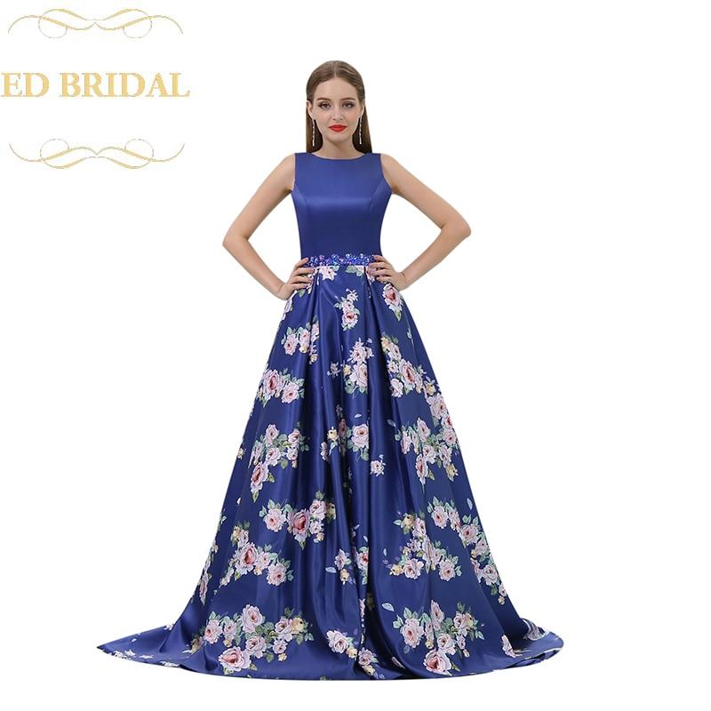 A Line Print Satin Beaded Waist Backless Long Prom Dress Women Evening Party Dress abiti da cerimonia da sera
