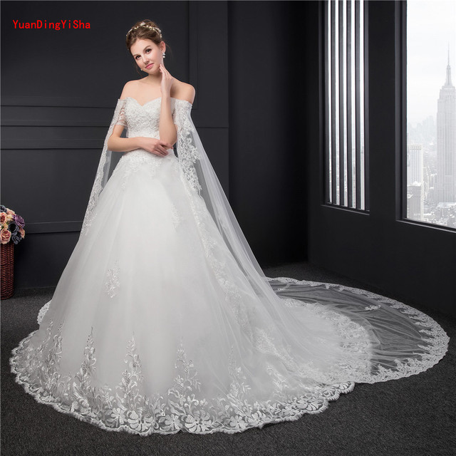 Big Train Lace Wedding Gowns Short Sleeve Customized Ball Gown Bridal Appliques Dress