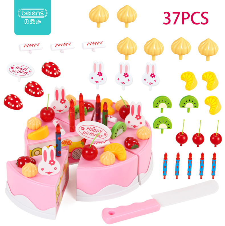 Beiens 37pcs DIY Pretend Role Play Fruit Cutting Set Happy Birthday Cake Kitchen Food Toys Pink Blue Girls Gift for ChildrenBeiens 37pcs DIY Pretend Role Play Fruit Cutting Set Happy Birthday Cake Kitchen Food Toys Pink Blue Girls Gift for Children