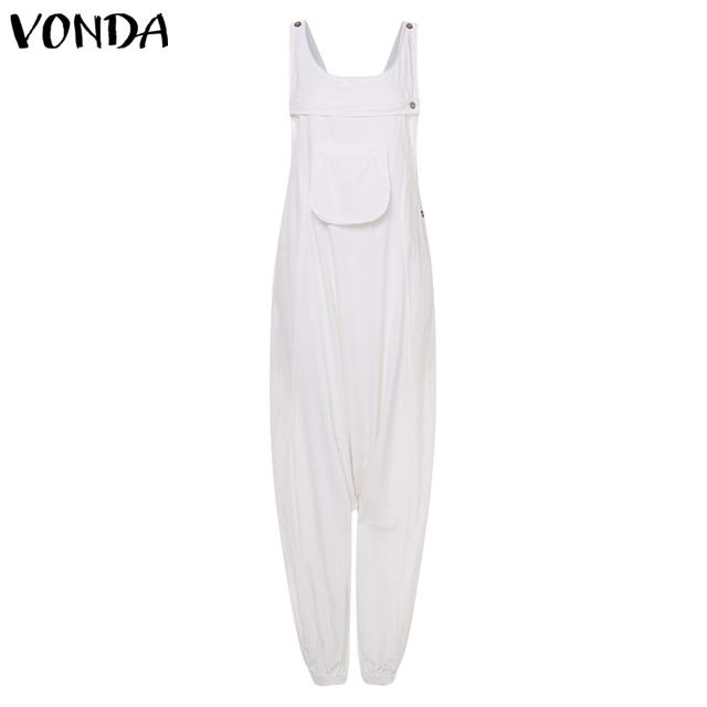 Nowy VONDA kobiet pajacyki kombinezony damskie 2019 moda Harem spodnie Sexy bez rękawów bawełna długie kombinezony Plus rozmiar Vestidos