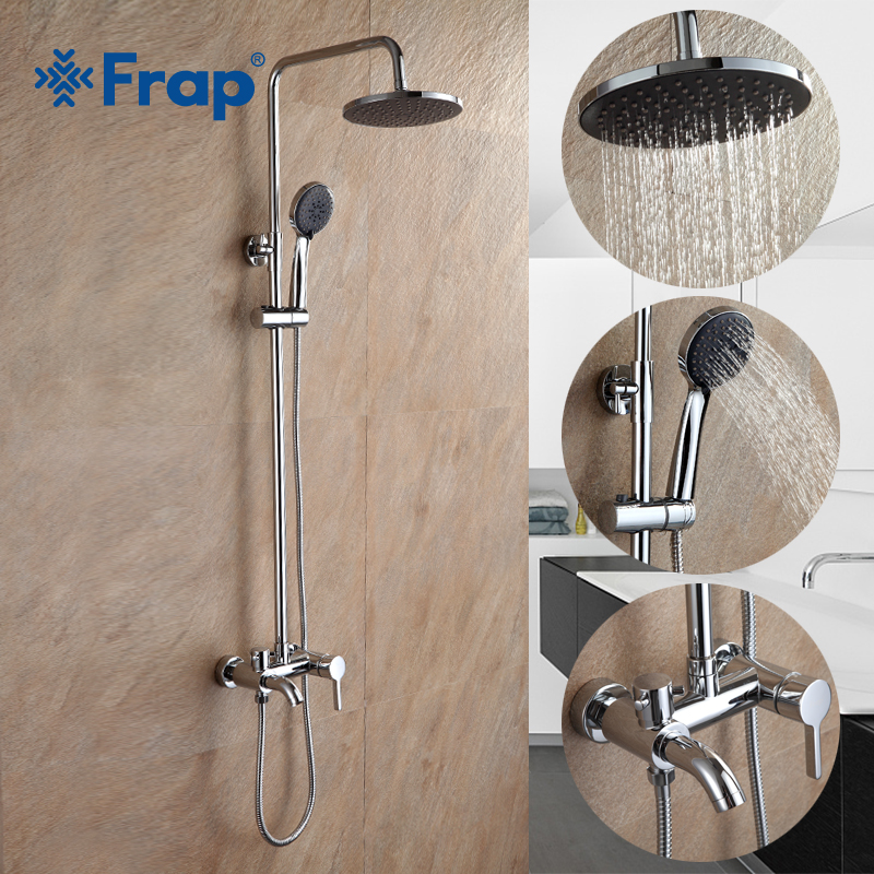Frap High Quality Chrome Bath Shower Faucets Set Bathtub Mixer Faucet With Hand Sprayer Wall Mounted