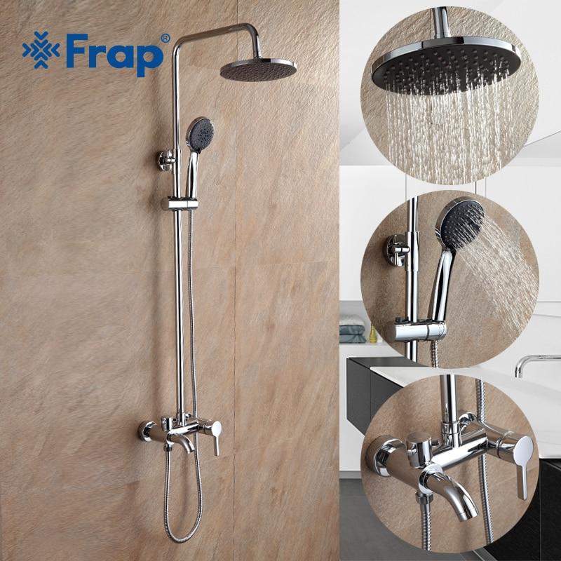 Frap robinets de douche de bain en Chrome de haute qualité Set robinet mélangeur de baignoire avec pulvérisateur à main mural salle de bains robinet exposé F2416