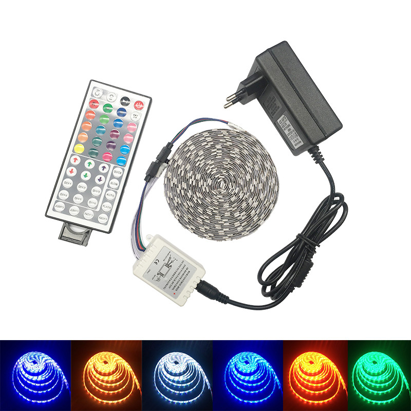 SMD 5050 RGB LED Strip Waterproof DC 12V 60LED/m 300LEDs 5M LED Strips Light Flexible with 3A Power and Remote Controller nokotion fiji mb 12238 1 48 4yz34 011 721523 001 laptop motherboard for hp probook 440 450 hd4000 ddr3 mainboard