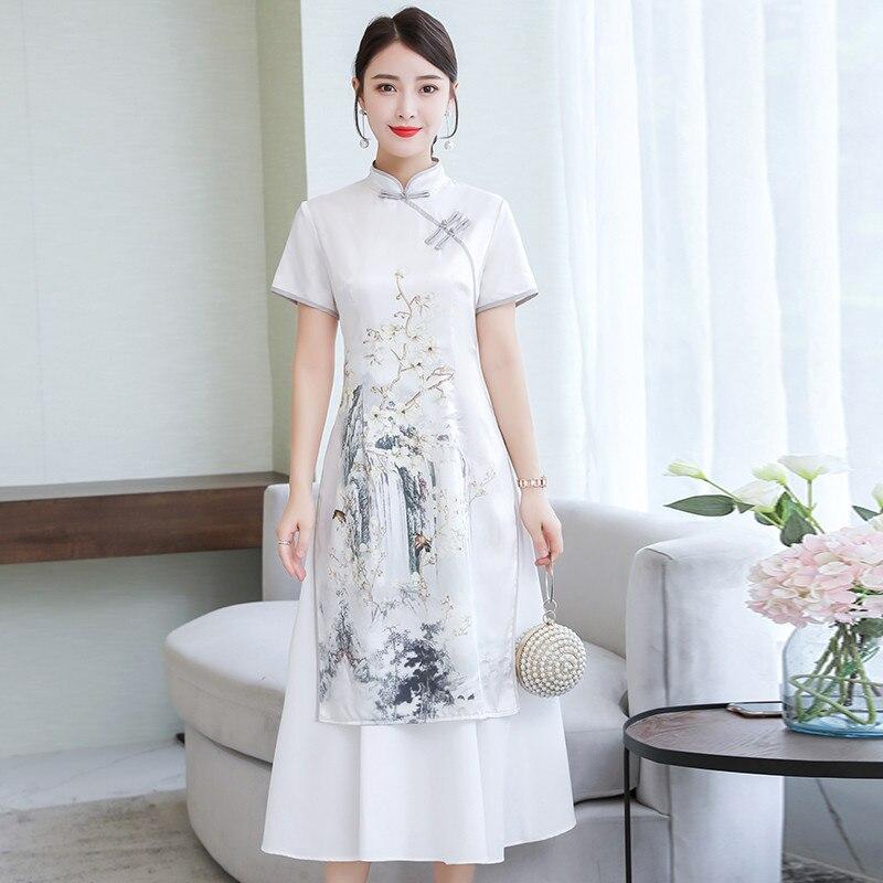 2019 White Ao Dai Satin Flower Print Traditional Vietnam Clothing Arrival Long Aodai Dress Novelty Vietnam Traditional Dress