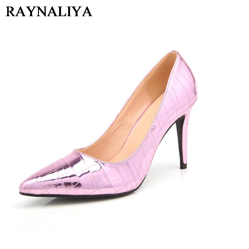 Purple Glitter Wedding Shoes 2017 Autumn Womens Pumps Bling Sexy Stiletto High Heels Genuine Leather Pointed Toe Shoes BLY-A0021 siketu 2017 free shipping spring and autumn women shoes fashion sex high heels shoes red wedding shoes pumps g107