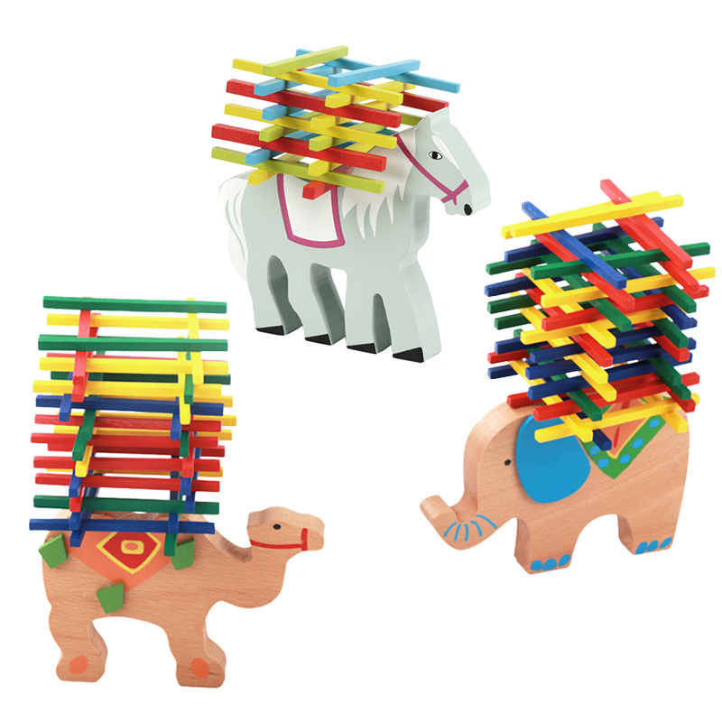 New Children Toy Balance Beam Elephant/ Horse/ Camel Bar Game Sticks Balancing Blocks Wooden Toys @Z397
