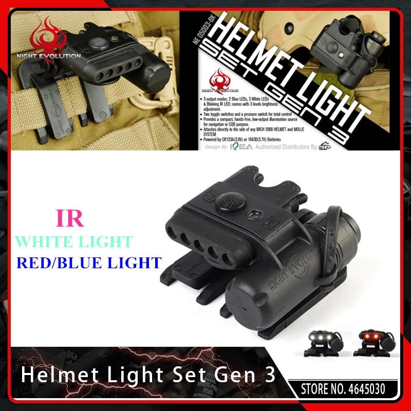 evolucao da noite capacete tatico luz conjunto gen 3 airsoft branco vermelho infravermelho led arma lanterna