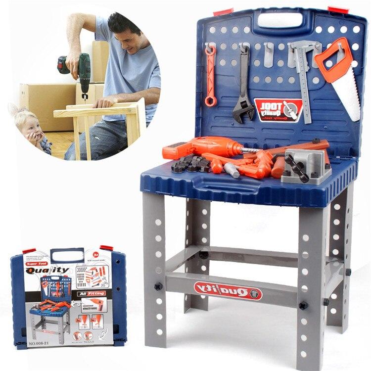 Livraison gratuite garçon outils de réparation électriques, mobile simulation bricolage boîte à outils enfants jouer maison jouets puissance atelier kit