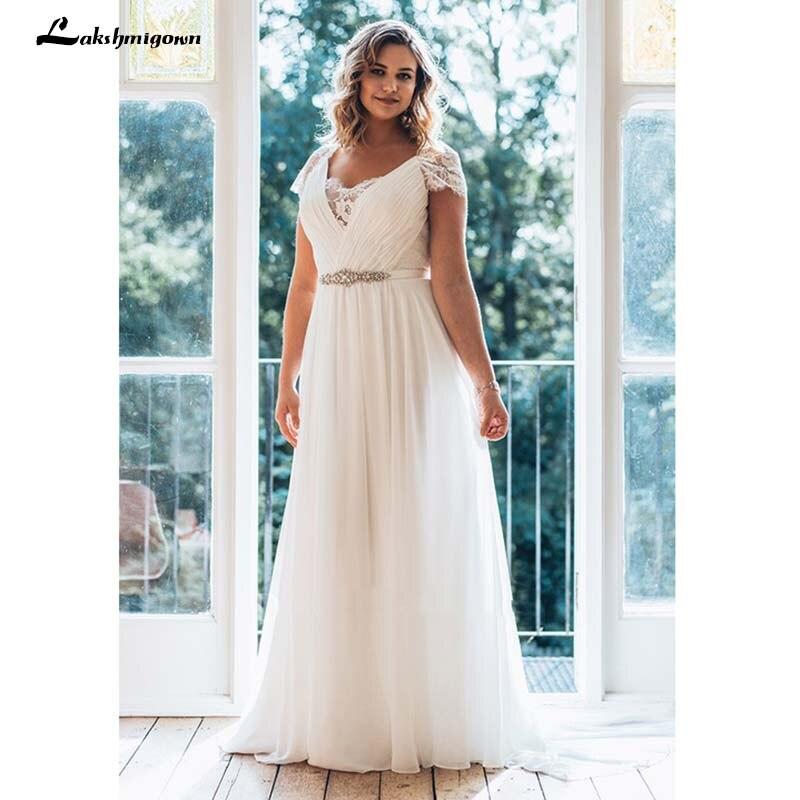 White Plus Size Wedding Dress A Line Floor Length V Neck