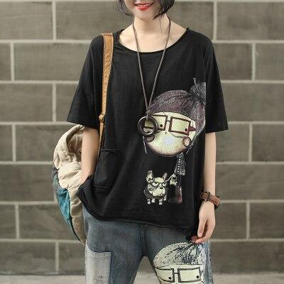 Женская модная брендовая летняя винтажная Лоскутная футболка с принтом собачки из мультфильма для маленькой девочки, Милая Короткая Женская Повседневная футболка - Цвет: black
