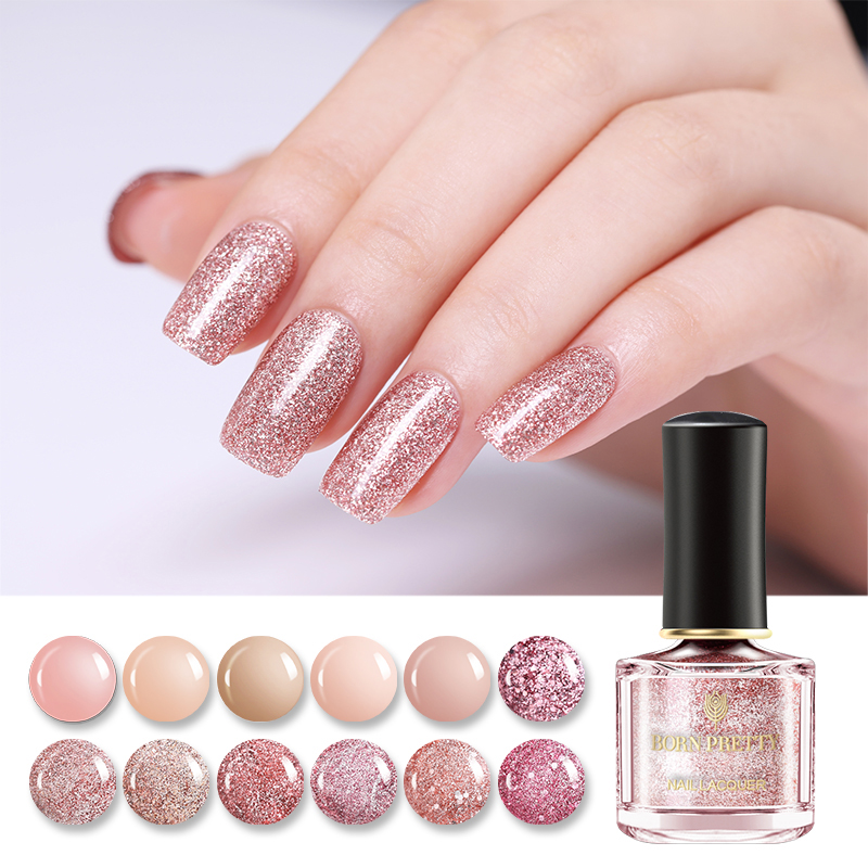 BORN PRETTY 6ml Rose Gold Series Nail Glitter Polish Pure Colors Long Lasting Pink Glitter Sequins Nail Art Manicure Lacquer