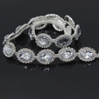 10Yards Bridal Crystal Trim Sewing Rhinestone Applique for Wedding Dress Belts Headpieces Accessories