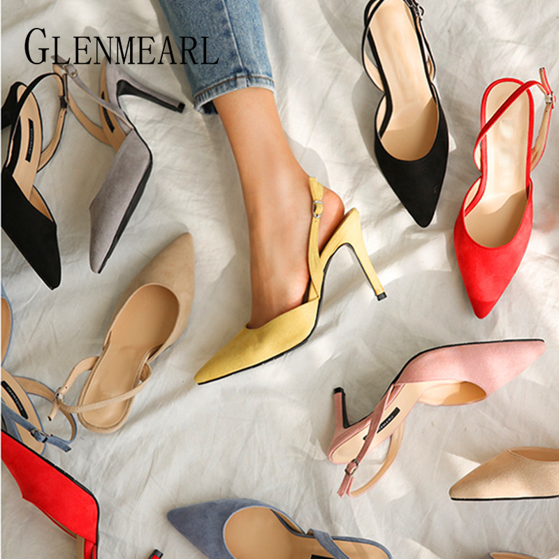 Women Sandals High Heels Summer Brand Woman Pumps Thin Heels Party Shoes Pointed Toe Slip On Office Ladie Dress Shoe Plus SizeDE