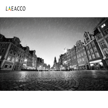 Laeacco City Street Buildings Dusk Rain Light Scenic Photography Backgrounds Customized Photographic Backdrops For Photo Studio