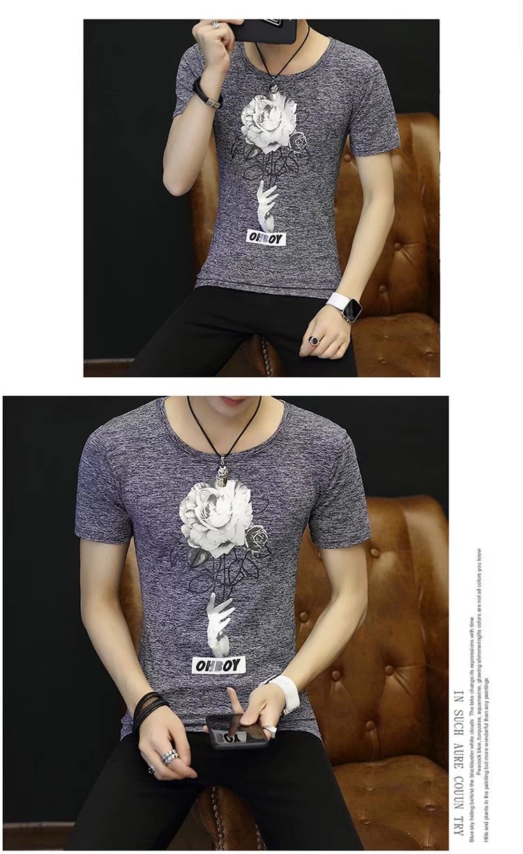 Spring 100% Cotton Casual Short Sleeve Rose Printing Men T Shirt O-neck Knitted Comfortable Fabric Street Style Men T-shirt 47