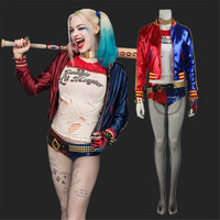 Harley Quinn Costume Cosplay Full Set Harley Quinn Fancy Outfit Halloween Cosplay Clothing Adult Women Movie Sexy Suit