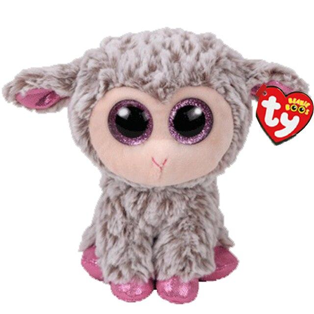 Ty Vaias Gorro Stuffed & Plush Dixie A Cinza Cordeiro Ovelha Brinquedo de 15 centímetros