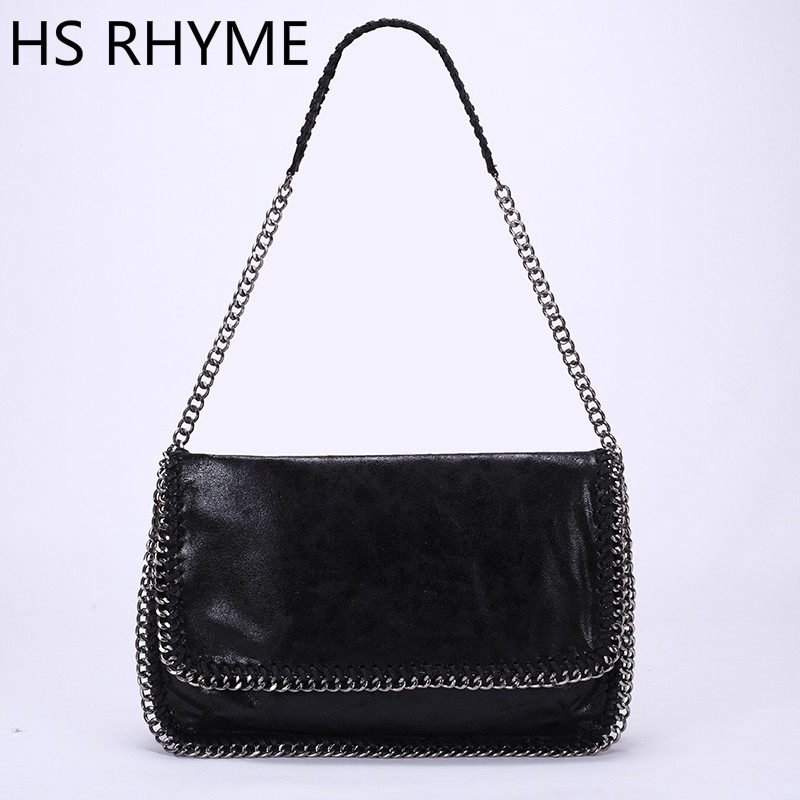 ФОТО HS RHYME Fashion Womens Stella Design Chain Detail Handbag Ladies Shoulder Bag Clutch Bag Bolsa Franja Luxury Evening Bags