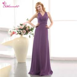 Александра Фиолетовый шифон V шеи платье подружки невесты для свадьбы Простой вечерние платье