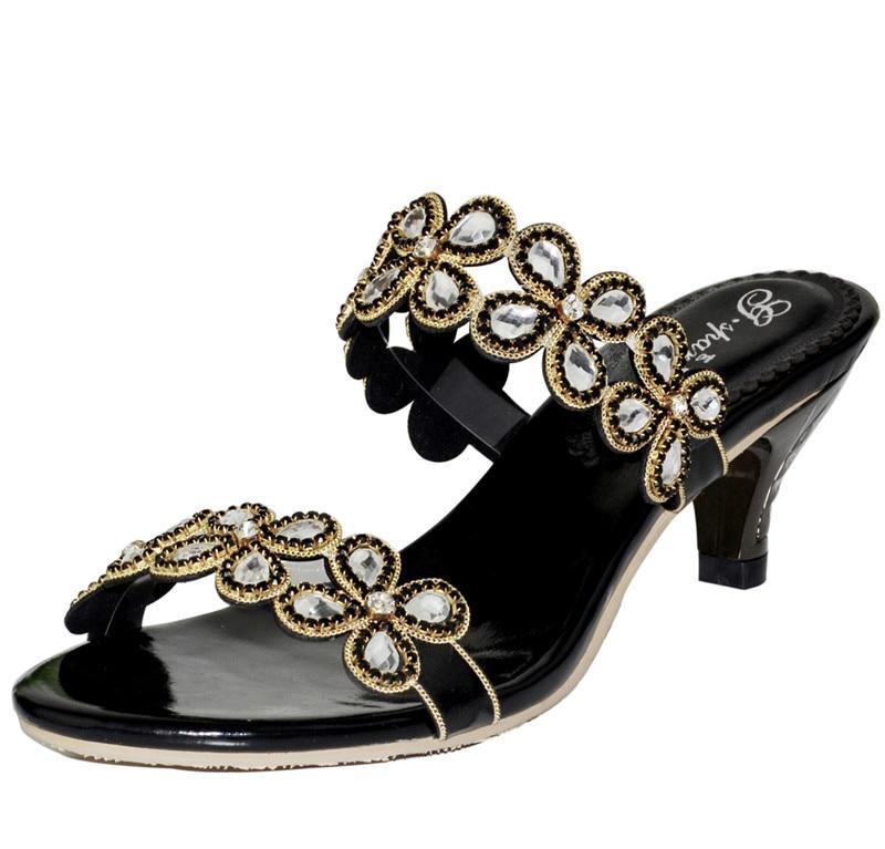 d868b08b Cuero 2018 Zapatos Moda Boda Peep Tacón Mejor Toe Diamante Sandalias Negro  Mujer De Lujo Zapatillas ...