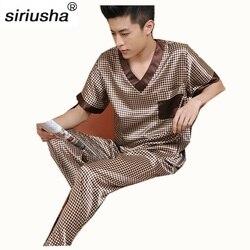 2020 تخفيض محدود على ملابس النوم الذكور الحرير قصير الأكمام طول السراويل منامة رقيقة بيجامة مجموعات الربيع والخريف جودة عالية S05