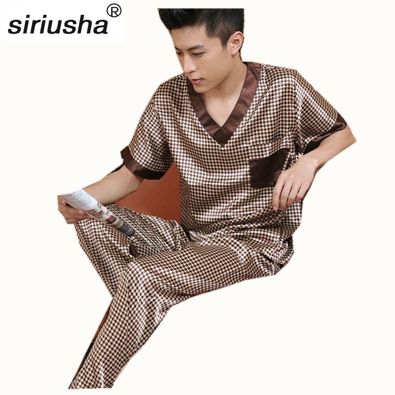 Chinese Style Sleepwear Male Silk Short Sleeve Length Pants Pyjamas Thin Silk Pajama Sets Spring & Autumn High Quality Silk S05