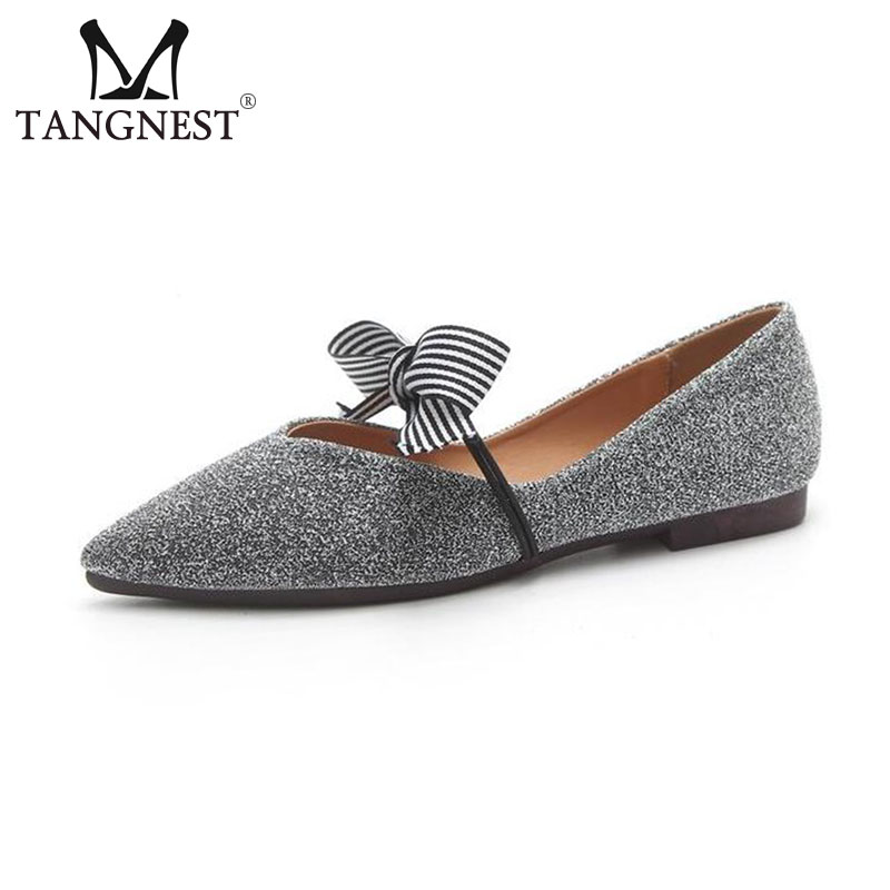Tangnest NEW Pointed Toe Ballet Flats Women Fashion Sequined Cloth Shallow Flat Shoes Women Summer Ballerina Shoes Black Sliver fashion pointed toe women shoes solid patent pu brand shoes women flats summer style ballet princess shoes for casual crystal