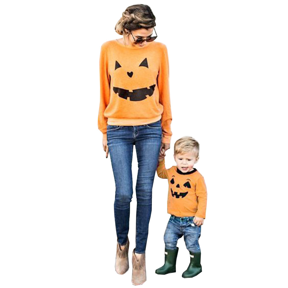 Giraffita Women Halloween Pumpkin Print Sweatshirts Long Sleeve Sweatshirt Pullover Tops Blouse Shirt Women Hoodies Sweatshirt