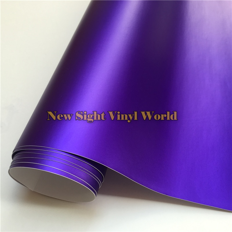 High Quality Violet Matte Satin Chrome Purple Vinyl Wrapping Film Bubble Free For Car Styling Size