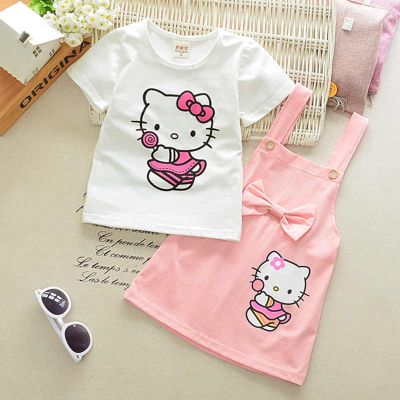 a3b565d98f08 Baby Girls Clothing Sets Hello Kitty Summer Cartoon Printed Short Sleeve  White T Shirt Belt Bow