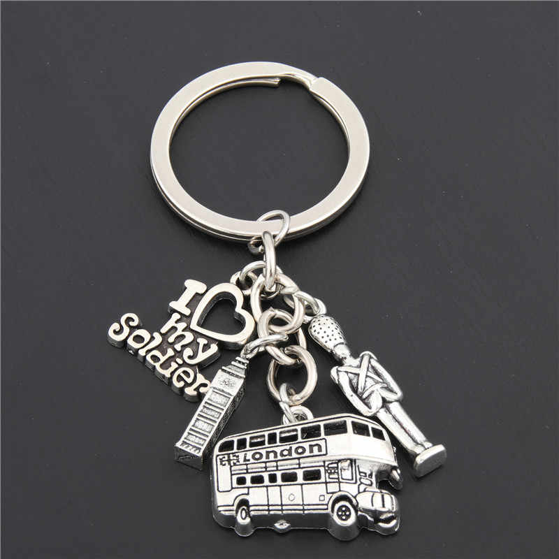 1pc London Bus Keychain Big Ben Charms I Love My Soldier Key Chains Army Navy Airforce England Gift E1661