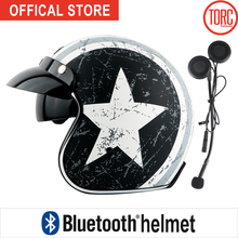Vespa capacete do bluetooth da motocicleta motocross jet abrir rosto 3/4 capacete viseira interna do vintage retro capacete casque moto capacete T57