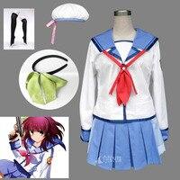 Athemis Halloween Angel Beats Angel Nakamura Yuri Cosplay Costumes Hat T Suit Dress Custom Made Any