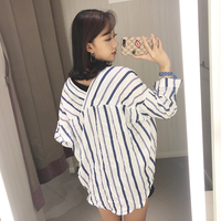 Classy Striped V Neck Blouse Spring Summer Thin Shirt Women Tops Cozy Chemise Femme Chemisier Blusa