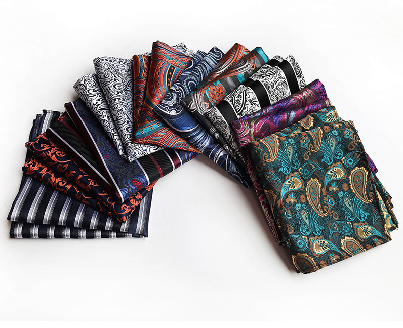 Wholesale&Retail Men's 100% Silk Handkerchief Luxury Geometric Floral Pocket Square Men Chest Towel Wedding Party Hankies