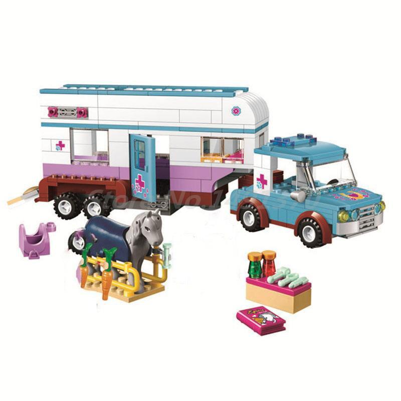 цена на 10561 Bela Friends Series Horse Vet Trailer Touring Car Building Block Sets 2 Figures 387pcs Bricks Toys Compatible With 41125