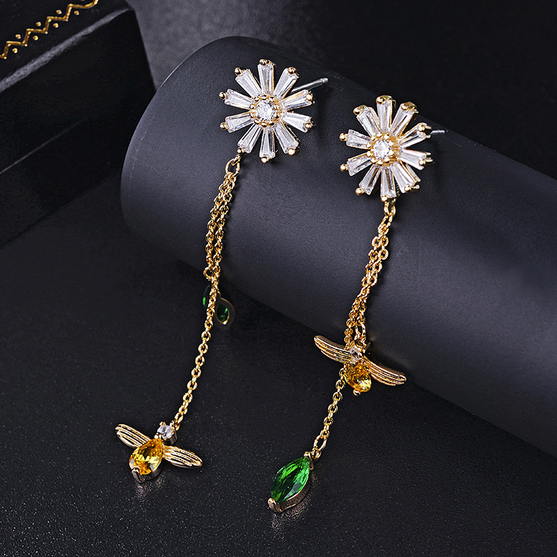 2018 NEW SALE 925 Silver Earrings Crystals From Swarovski 2 Colors Temperament Long Fashion Flowers Bee Fringe Earrings