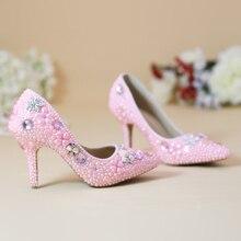 Pointed toe Rhinestone bridal shoes 8cm High heel shoes fashion shoes women's Bride Party/wedding handmade Shoes Pumps