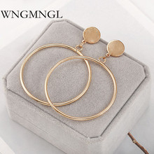 WNGMNGL 2018 New Charm Drop Earrings Simple Fashion Big Hollow Round Dangle For Women Punk Statement Female Ear Jewelry