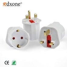 цена на Rdxone EU Euro 2 Pin to UK 3 Pin Power Converter Plugs adapter AC plug Adapter Travel Converter European 250V 16A