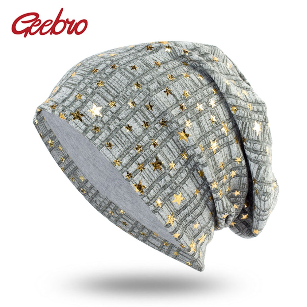 Geebro Women's   Beanies   Hat Spring Casual Cotton Bronzing Stars Bonnets Cap Ladies Solid Comfortable   Skullies     Beanie   DQ409B