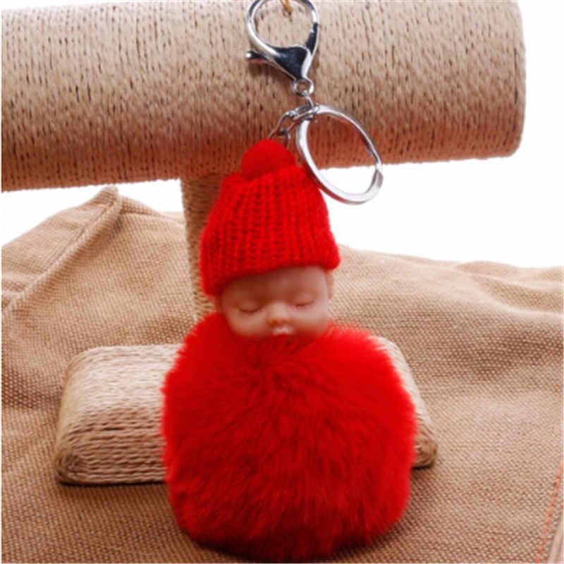 1PC Moda Bonito Bebê Dormindo Saco chaveiro Boneca Pele De Coelho PomPom Fofo Decoração Chaveiros Jóias Para Mulheres Dos Homens