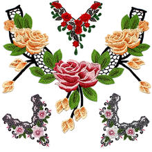 1pc Embroidery Colorful Rose Flower Collar Lace Polyester Fabric DIY Handmade Fabrics For Sewing Patchs Craft