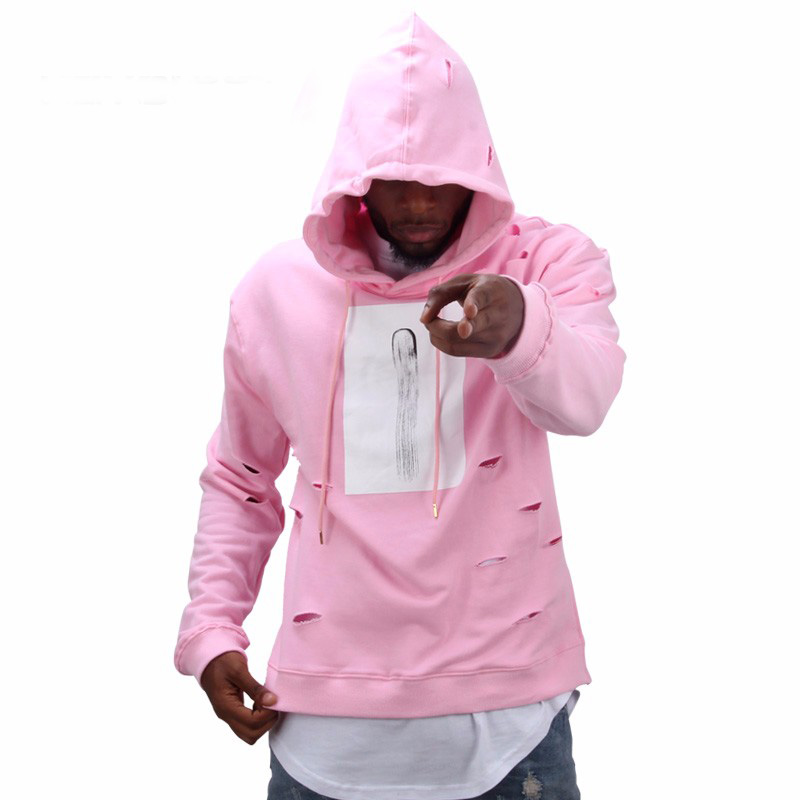 ¡Oferta! Sudadera con capucha Rosa hip hop para hombre