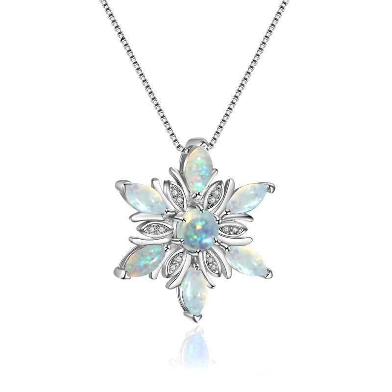 Hot Luxury Women Shiny Crystal Snowflake Pendants & Necklaces Silver Necklaces with Opal Zircon Gifts for Women Winter Jewelry